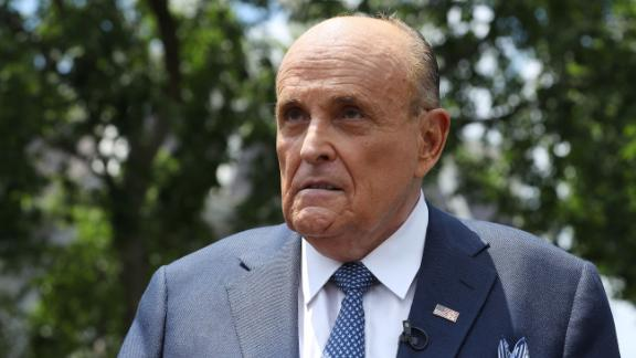 President Donald Trump's lawyer and former New York City Mayor Rudy Giuliani talks to journalists outside the White House West Wing July 01, 2020 in Washington, DC. Giuliani did an on-camera interview with One America News Network's Chanel Rion before talking to other journalists about Vice President Joe Biden and the news that Russian intelligence may have paid Taliban operatives to kill U.S. troops in Afghanistan.