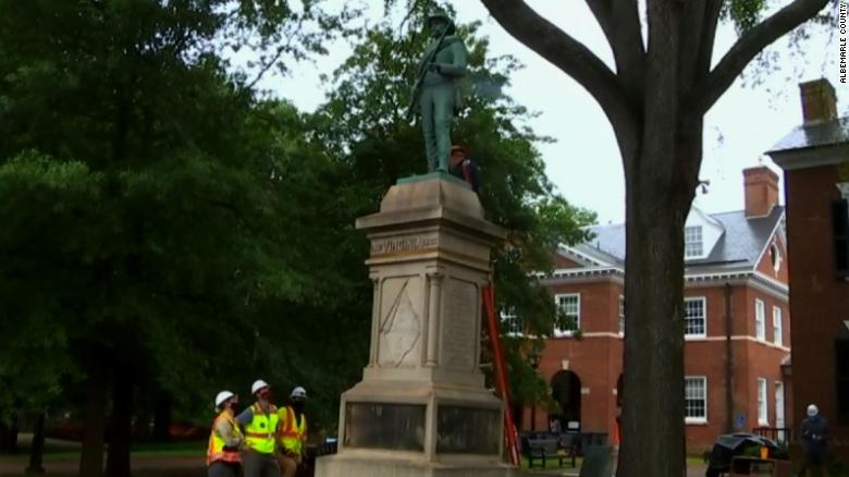 A Confederate statue is coming down today in the Virginia city of deadly 'Unite the Right' violence