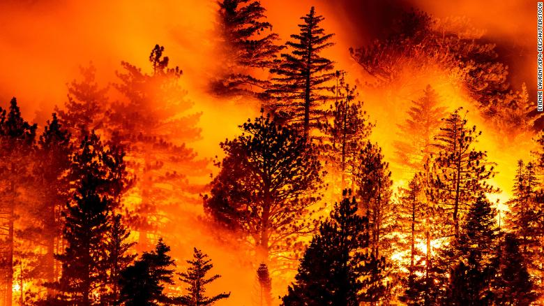 The Bobcat Fire burns in Angeles National Forest north of Monrovia, California, on Friday, September, 11.
