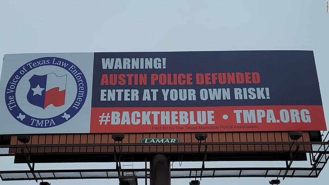 Texas billboard warns drivers to enter Austin 'at your own risk' after city reduces police budget