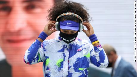 Naomi Osaka, 22, wears a mask bearing the name of Tamir Rice as she walks on court for the final of the US Open on September 12, 2020.