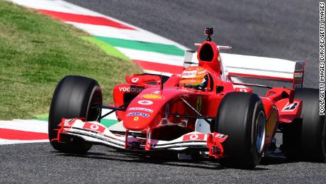 Mick Schumacher drives the Ferrari F2004 of his father Michael Schumacher before the F1 Tuscan Grand Prix at the  Mugello Circuit.