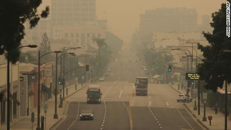 Smoke from wildfires fills the sky over Pasadena, California, on Saturday.