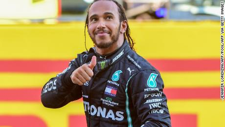 Lewis Hamilton celebrates winning the Tuscan Grand Prix at the Mugello circuit for his 90th F1 win.