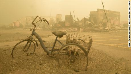 A tricycle stands near the Lake Detroit Market, Friday, September 11, 2020, in Detroit, Oregon.
