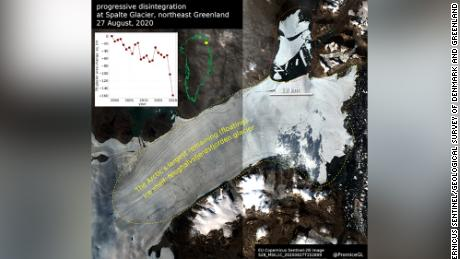 The section marked in red at the top of this optical satellite image shows the ice lost from the Nioghalvfjerdsfjorden glacier.