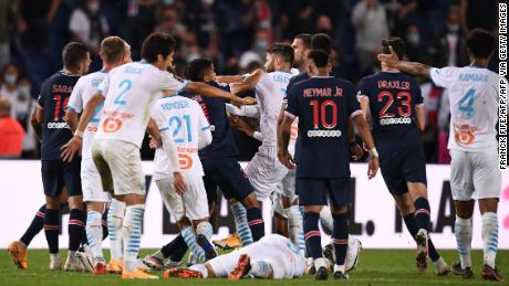 PSG and Marseille players scuffle at the end of the Ligue 1 clash.
