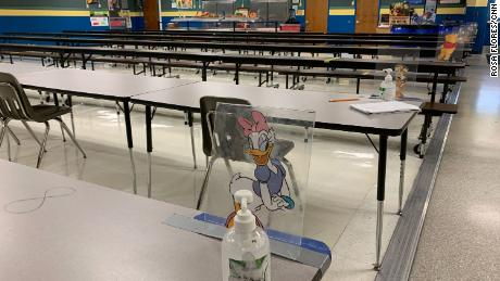 The dining tables at Jensen Beach Elementary School in Martin County are labeled with Disney numbers and characters to encourage social distancing.