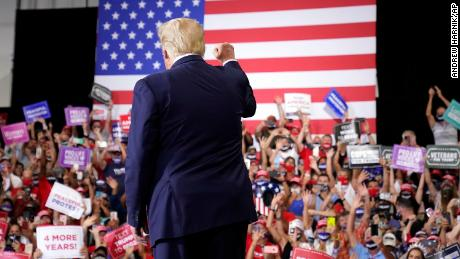 President Donald Trump arrives to speak at a rally at Xtreme Manufacturing, Sunday, Sept. 13, 2020, in Henderson, Nevada.