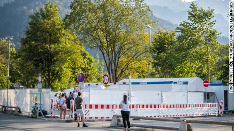 People queue in front of Garmisch-Partenkirchen's coronavirus test center on September 13.
