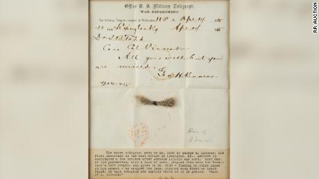 Lincoln's lock of hair was wrapped in this telegram from the night he was shot.