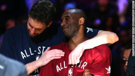 Pau Gasol and Kobe Bryant during the 2016 NBA All-Star Game.