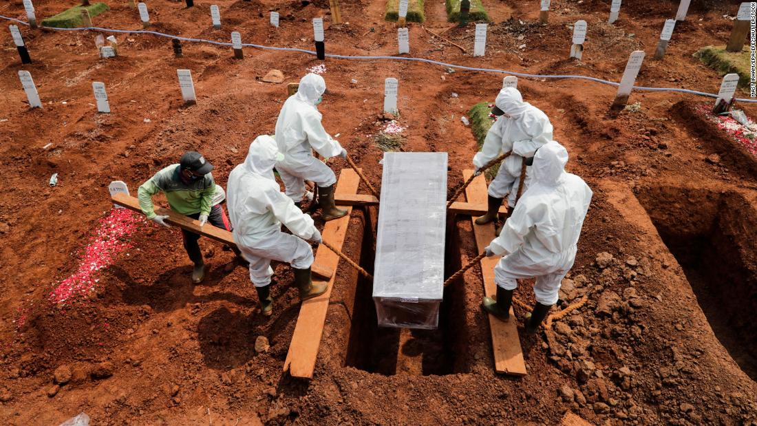 A coronavirus victim is buried at a cemetery in Jakarta, Indonesia, on September 8.