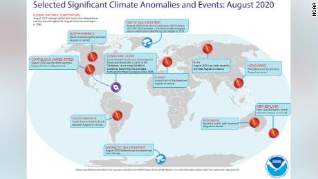 A map of the world plotted with some of the most significant weather and climate events that occurred during August 2020. For more details, see the NOAA report at http://bit.ly/GlobalAug2020.