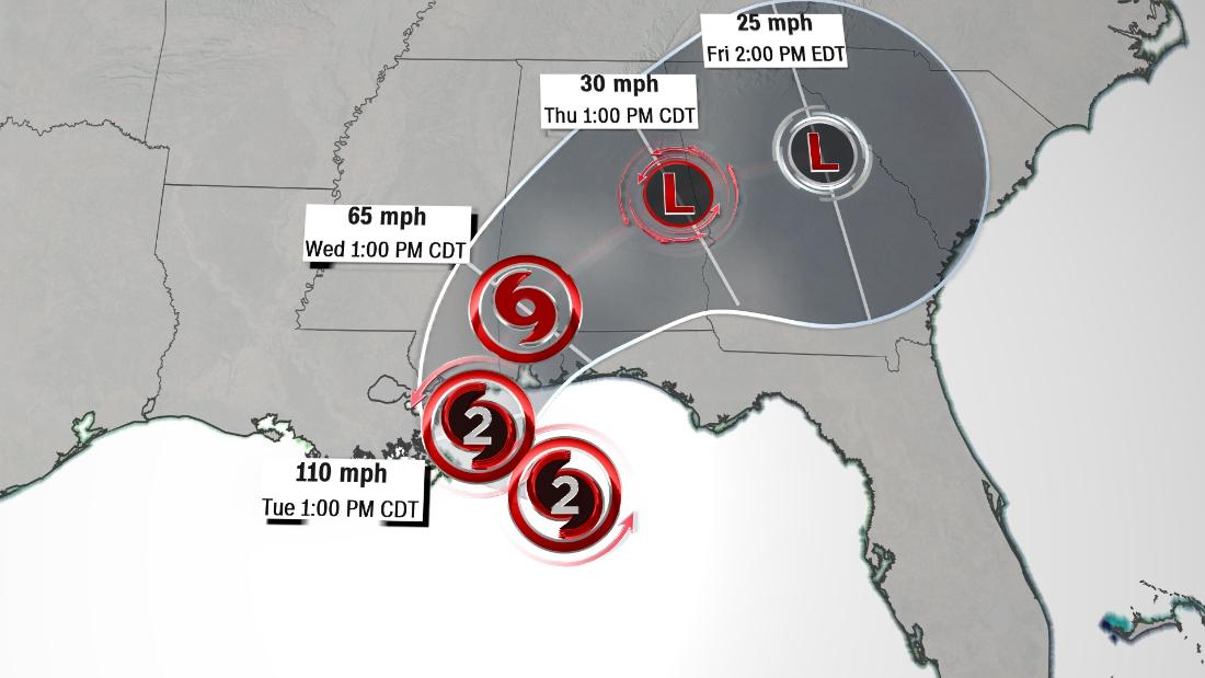 Hurricane Sally strengthens to Category 2 as it moves toward the US Gulf Coast