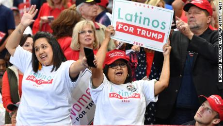 "A supporter of the US president hold signs reading ""Latinos for Trump"" as they attend a ""Keep America Great"" rally at the American Airlines Center in Dallas, Texas on October 17, 2019."