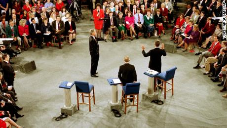 Moderator Carole Simpson presides over the presidential debate between Democratic presidential candidate Bill Clinton, Independent candidate Ross Perot and Republican candidate, President George H.W. Bush, at the University of Richmond, Virginia, in 1992.
