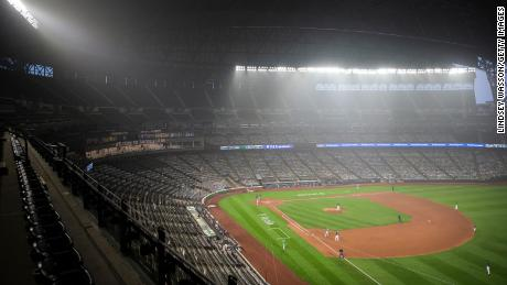 Wildfire smoke fills the air in T-Mobile Park during the second game of a doubleheader between the Seattle Mariners and Oakland Athletics.