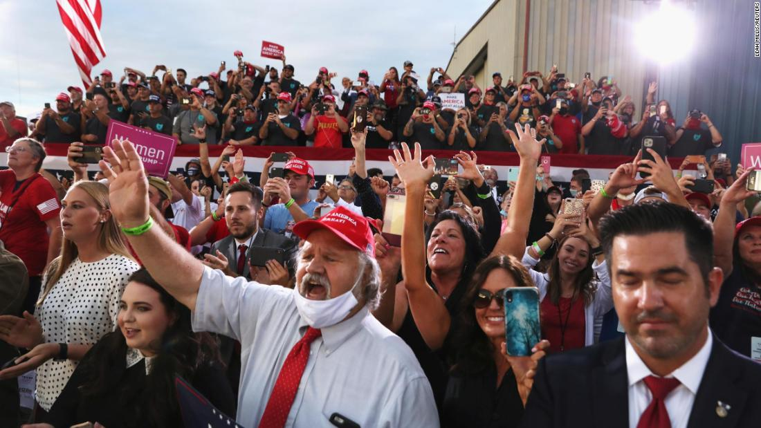 "Supporters react as Trump delivers a speech September 3 at Arnold Palmer Regional Airport in Latrobe, Pennsylvania. <a href=""https://www.cnn.com/2020/09/03/politics/trump-biden-coronavirus-mask/index.html"" target=""_blank"">Speaking to a largely maskless crowd,</a> Trump at one point mocked Biden: ""Did you ever see a man that likes a mask as much as him?"""