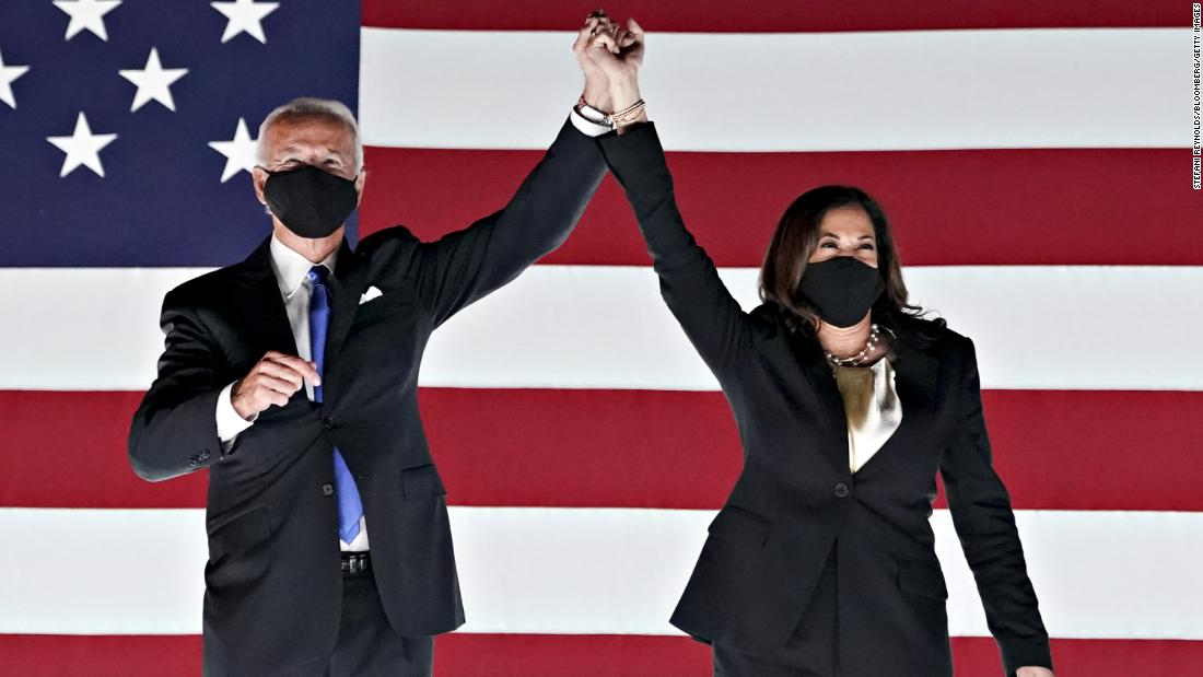 "Biden and his running mate, US Sen. Kamala Harris, appear before supporters outside the Chase Center in Wilmington, Delaware, during the <a href=""https://www.cnn.com/2020/08/20/politics/gallery/democratic-convention-2020/index.html"" target=""_blank"">Democratic National Convention</a> on August 20."