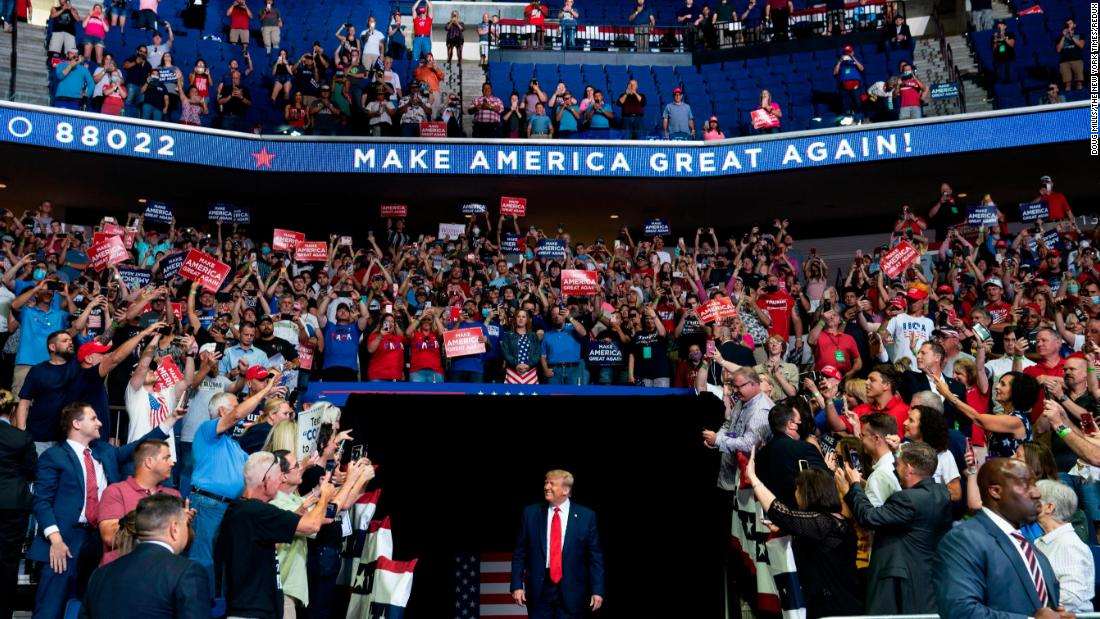 "Trump arrives for a <a href=""https://www.cnn.com/2020/06/20/politics/tulsa-rally-trump/index.html"" target=""_blank"">rally in Tulsa, Oklahoma,</a> on June 20. It was his <a href=""https://www.cnn.com/2020/06/20/politics/gallery/trump-rally-tulsa/index.html"" target=""_blank"">first rally since the Covid-19 pandemic began</a>, with the the indoor venue generating <a href=""https://www.cnn.com/2020/06/20/politics/donald-trump-rally-tulsa-coronavirus/index.html"" target=""_blank"">concerns about the potential spread of coronavirus.</a>"