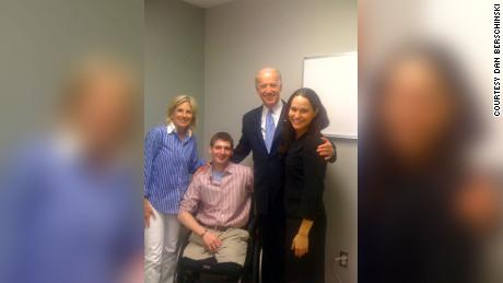 Dan Berschinski at the Walter Reed Army Medical Center's amputee rehab clinic in March 2010. Pictured from left, Jill Biden, Dan, Joe Biden and Dan's then-girlfriend Rebecca Taber.