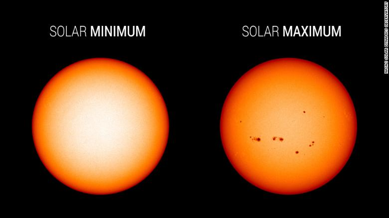 These NASA images highlight how sunspot activity differs at solar minimum (left, December 2019) versus solar maximum (right, July 2014).