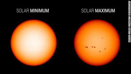 Las imágenes de luz visible del Observatorio de Dinámica Solar de la NASA destacan la aparición del sol en el mínimo solar (izquierda, diciembre de 2019) frente al máximo solar (derecha, julio de 2014). Durante el mínimo solar, el sol suele estar impecable. Las manchas solares están asociadas con la actividad solar y se utilizan para rastrear el progreso del ciclo solar.