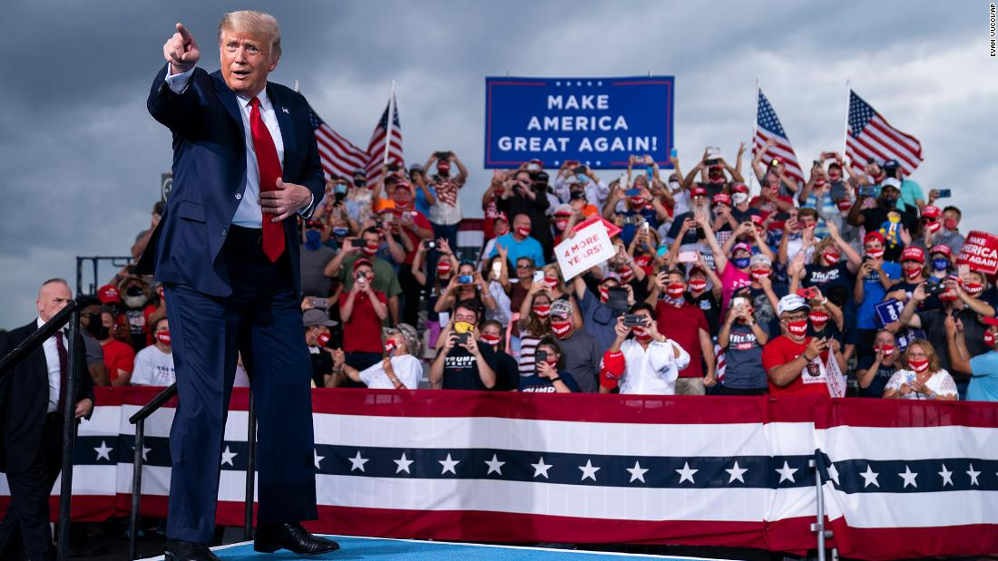 "Trump arrives to speak at a <a href=""https://www.cnn.com/2020/09/08/politics/donald-trump-north-carolina-2020-election/index.html"" target=""_blank"">campaign rally in Winston-Salem, North Carolina,</a> on September 8."