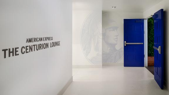 The entrance to the Amex Centurion Lounge in Philadelphia.