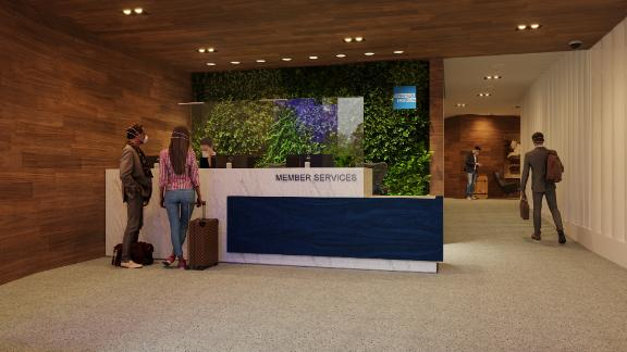 A rendering provided by American Express of the relocated and expanded Centurion Lounge at New York