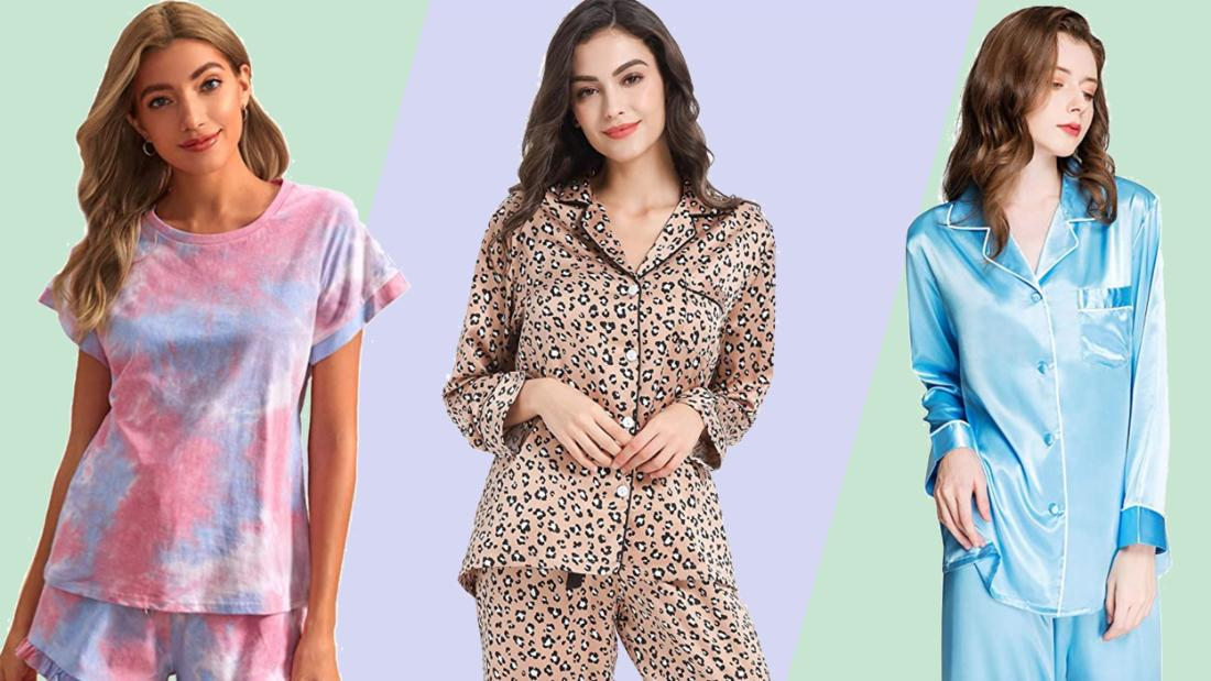 Womens Cotton Pyjamas Set Long Sleeve Deep V Sleepwear Loungewear Nightgown Gift