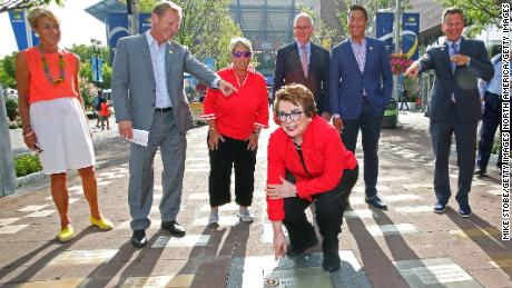 NEW YORK, NEW YORK - SEPTEMBER 04: Tennis legends Billie Jean King and Rosie Casals, members of the Original 9, unveil their pavers honoring Gladys Heldman and the entire Original 9 on the USTA Foundation's Avenue of Aces on day ten of the 2019 US Open at the USTA Billie Jean King National Tennis Center on September 04, 2019 in the Queens borough of New York City. (Photo by Mike Stobe/Getty Images)