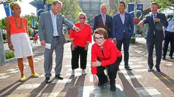 NEW YORK, NEW YORK - SEPTEMBER 04: Tennis legends Billie Jean King and Rosie Casals, members of the Original 9, unveil their pavers honoring Gladys Heldman and the entire Original 9 on the USTA Foundation