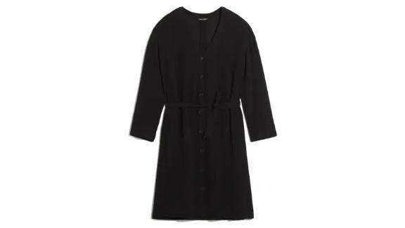 Long-Sleeved V-Neck Dress in Black