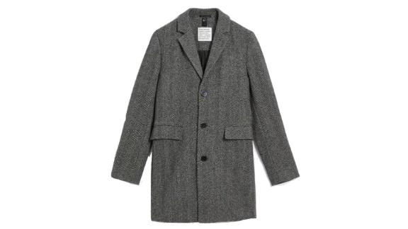 The Lawrence Recycled Wool Herringbone Topcoat in Grey
