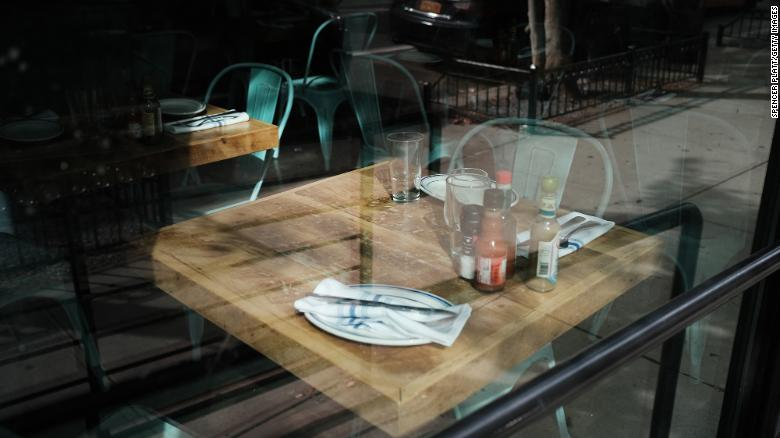 A table stands empty at a permanently closed restaurant in Manhattan on August 31, 2020 in New York City.