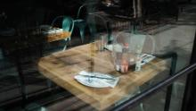 An empty table in a permanently closed restaurant in Manhattan on August 31[ads1], 2020 in New York City.
