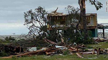 Homes and other structures in Gulf Shores, Alabama, were severely damaged Wednesday.