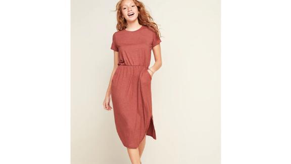 Waist-Defined Slub-Knit Midi T-Shirt Dress