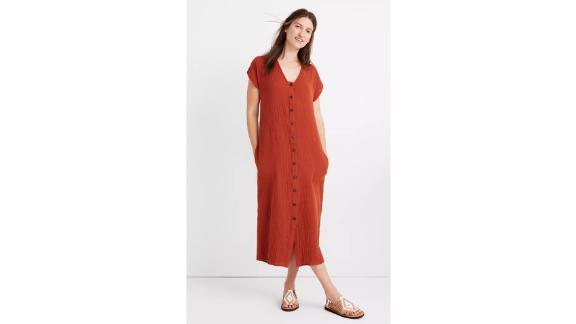 Petite Gauze Easy Midi Dress