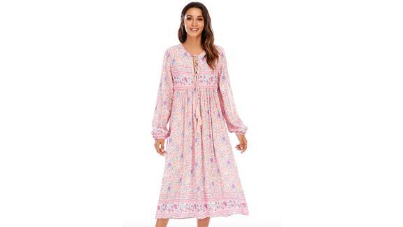 R.Vivimos Long-Sleeve Floral Bohemian Midi Dress