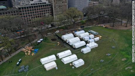 An emergency field hospital was constructed in Central Park to treat Covid-19 patients.