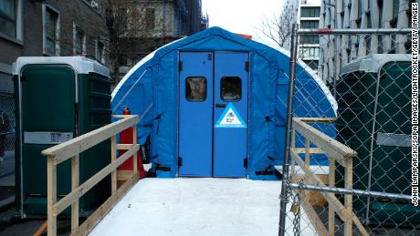 Mount Sinai Morningside Hospital set up a temporary morgue to accommodate the high number of deaths due to Covid-19.