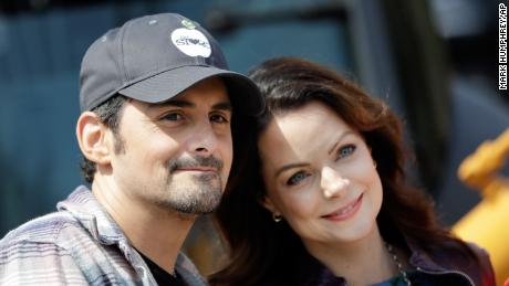 Country music star Brad Paisley and his wife, actress Kimberly Williams-Paisley, attend the groundbreaking ceremony for The Store, a free grocery store for people in need, Wednesday, April 3, 2019, in Nashville, Tennessee.