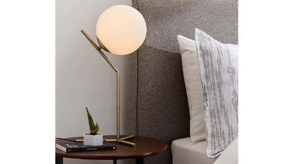 Rivet Glass Ball and Metal Table Lamp