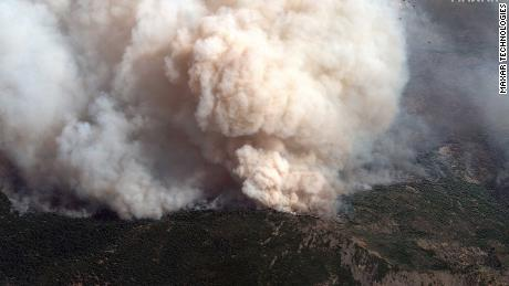 A satellite image shows a close up of an active fire line in the August Complex fire in California on September 14.