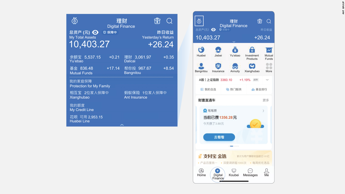 An example of the digital finance services available in the Alipay app.