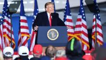 "US President Donald Trump speaks to supporters at a ""Great American Comeback"" event at Central Wisconsin Airport in Mosinee, Wisconsin, on September 17, 2020. (Photo by Mandel Ngan/AFP/Getty Images)"