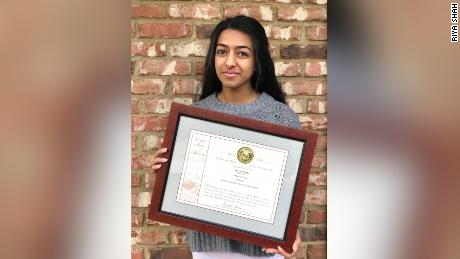 Riya Shah received a patent for her contraction monitoring device in March.
